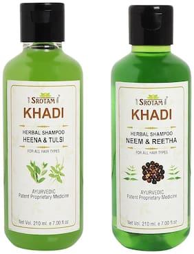 Srotam Khadi Heena Tulsi and Neem Reetha Shampoo 210ml (Pack of 2)
