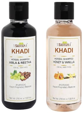 Srotam Khadi Amla Reetha and Honey Vanilla Shampoo 210ml (Pack of 2)
