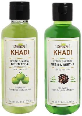 Srotam Khadi Green Apple with conditioner and Neem Reetha Shampoo 210ml (Pack of 2)