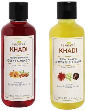 Srotam Khadi Honey & Almond oil and Saffron Tulsi Reetha Shampoo 210ml (Pack of 2)