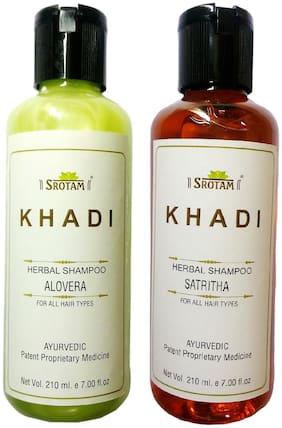 Srotam Khadi Herbal Aloevera and Satritha Shampoo 210 ml( Set Of 2 Bottles)