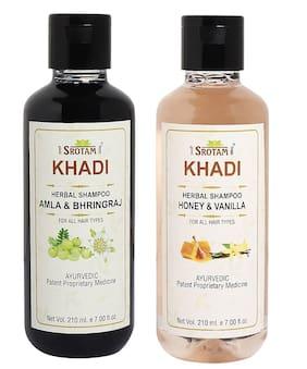 Srotam Khadi Amla Bhirngraj and Honey Vanilla Shampoo 210ml (Pack of 2)