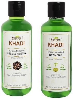 Srotam Khadi Neem Reetha and Neem Sat Shampoo 210ml (Pack of 2)