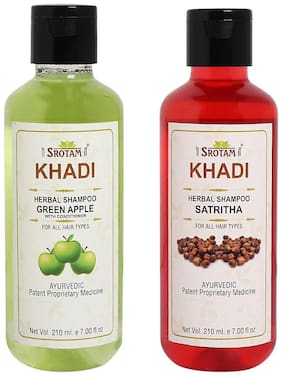 Srotam Khadi Green Apple with conditioner and Satritha Shampoo 210ml (Pack of 2)