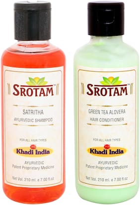 Srotam Satritha Shampoo 210 ml + Green Tea Aloevera Conditioner 210 ml