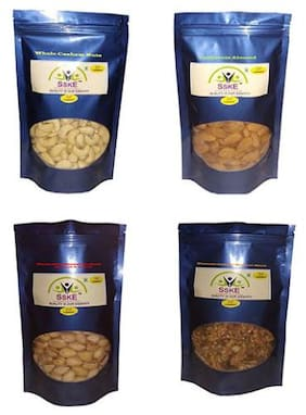 SSKE Cashew 250 g, Almond 250 g,  Roasted & Salted Pistachio 250 g, Inshell/Walnuts 250 g ( Pack of 4 )