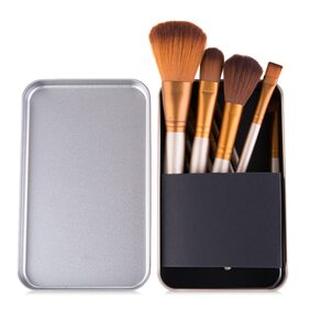 Starvis Makeup Brush Collection In Metal Box with wood handle Set in box Of 12 (ASSORTED)