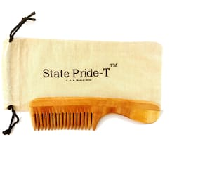 State Pride-T Neem Wooden comb for men and women (Pack of 1) + Free Cotton Pouch