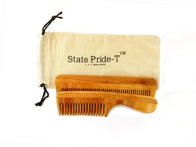 State Pride-T Neem Wooden comb for men and women (Pack of 2) + Free Cotton Pouch