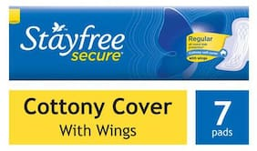 STAYFREE Sanitary Pads - Secure Cottony Soft  with Wings 7 pads