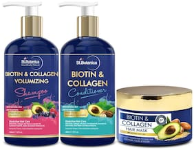 StBotanica Biotin And Collagen Shampoo 300ml  &  Conditioner 300ml  &  Biotin Hair Mask 200ml Pack of 3
