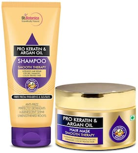 StBotanica Pro Keratin And Argan Oil Shampoo 200 ml  &  Hair Mask (200ml each) Pack of 2