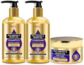 StBotanica Pro Keratin And Argan Oil Shampoo 300ml  &  Conditioner 300ml  &  Hair Mask 200ml Pack of 3