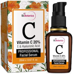 StBotanica Vitamin C 20% + Vitamin E & Hyaluronic Acid Facial Serum - 20ml - Anti Wrinkle / Aging;Dark Circles;Sun Damage Serum