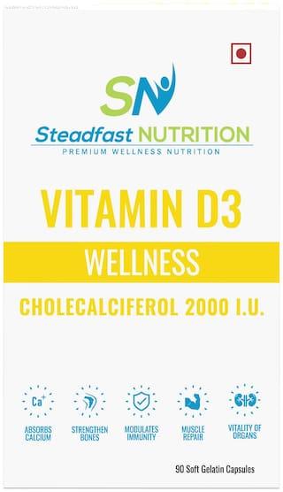 Steadfast Nutrition Vitamin D3 Capsule - Cholecalciferol 2000 IU (90 Capsules)