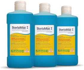 SterloMax 75% Isopropyl Alcohol-based Hand Rub Sanitizer and Disinfectant, 500 ml -(Pack of 3)