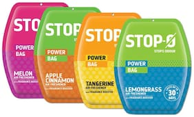 Stop-O Air Freshener Power Bag Combo Assorted Lemon Grass, Melon, Apple Cinnamon, Tangerine Fragrances for Bedroom/Kitchen/Bathroom with Fragrance Boosters upto 30 Days
