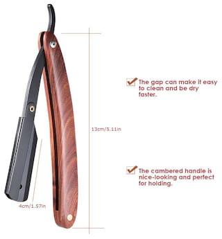 Straight Razor Manual Edge Razor Stainless Steel Folding Shaving Razor Wooden Handle Blade not included