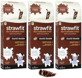 Strawfit Chocolate Milk Flavoring Straw With Colostrum For Kids' Immunity, Health And Nutrition 7 Straw 60g Pack Of 3