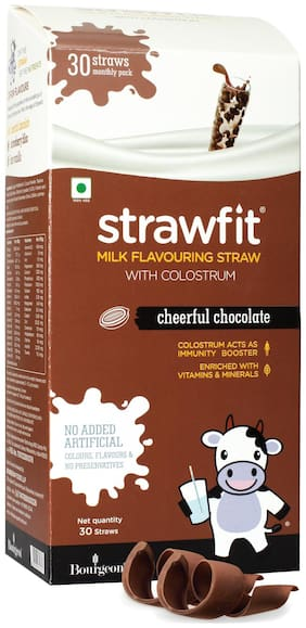 Strawfit  Milk Flavoring Straw With Colostrum 30 Chocolate Straws 200g (pack of 1)