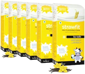 Strawfit Vanilla Milk Flavoring Straw With Colostrum For Kids' Immunity, Health And Nutrition 30 Straw 200Gm Pack Of 6