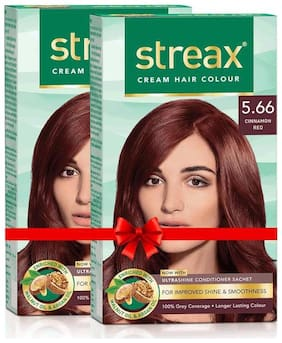 Streax Cinnamon Red No - 5.66 Cream Hair Colour - 120 ml - Pack of 2