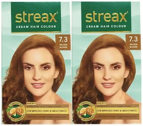 Streax Cream Hair Color 7.3 Golden Blonde Pack of 2