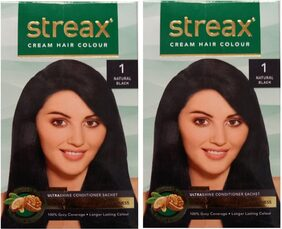 Streax Cream Hair Colour 1 Natural Black (Pack of 2)