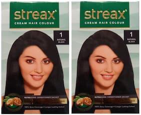 Streax Cream Hair Colour 1 Natural Black (Pack of 2)
