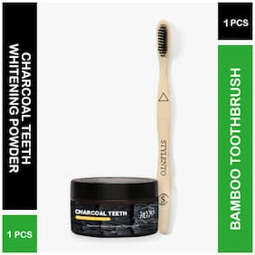 Stylento Teeth Whitening Powder With Bamboo Toothbrush Soft Bristles Natural Whitening;Fungus Free;(Combo Kit)