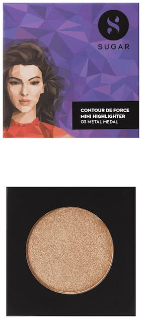 SUGAR Cosmetics Contour De Force Mini Highlighter - 03 Metal Medal (Soft Gold)