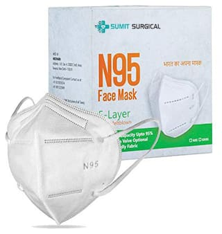 Sumit Surgical N95 Disposable Double Melt Blown Cotton 98% Filtration Capacity 5 Layered individually Packed Anti Air Pollution Face Mask (Pack of 20)