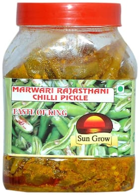 Sun Grow Homemade Marwadi Rajasthani Green Chilli Pickle Hari mirch ka achar ( Without Oil ) Pure/ All Natural/ Highest Quality 1 kg