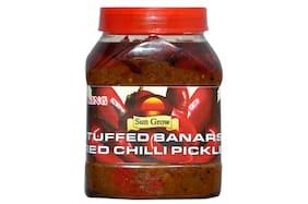 Sun Grow Organic Homemade Stuffed Banarasi Red Chilli Pickle Achaar 1 kg (Pack of 1)