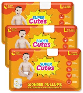 Super Cute's Wonder Pullups Pant Style Premium Diaper For Superior Absorption L 33 Pieces Each (Set of 3)