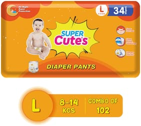 Super Cute's Wonder Pullups Pant Style Premium Diaper For Superior Absorption Large 34 Pieces Each (Set of 3)