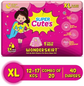Super Cute's Wonder Skirt for Girl Pant Style Premium Diaper with Disposable Skirt - XL (40 pcs)