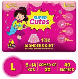 Super Cute's Wonder Skirt for Girl Pant Style Premium Diaper with Disposable Skirt - L (40 pcs)