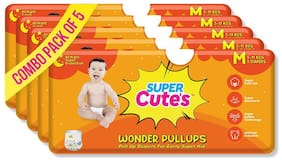 Super Cute's Wonder Pullups Pant Style Premium Diaper For Superior Absorption M 5 Pieces Each (Set of 5)
