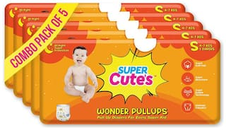 Super Cute's Wonder Pullups Pant Style Premium Diaper For Superior Absorption S 5 Pieces Each (Set of 5)