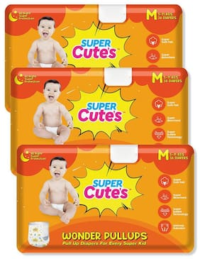 Super Cute's Wonder Pullups Pant Style Premium Diaper For Superior Absorption M 36 Pieces Each (Set of 3)