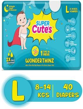 Super Cute's Wonder Thinz Pant Style Ultra Premium Diaper For 2X Absorption - L (40 pcs)