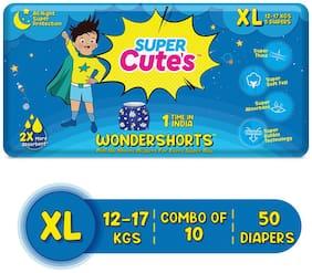 Super Cute's Wonder Shorts for Boys Pant Style Premium Diaper with Disposable Shorts - XL (50 pcs)