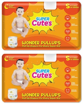 Super Cute's Wonder Pullups Pant Style Premium Diaper For Superior Absorption S 40 Pieces Each (Set of 2)