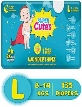 Super Cute's Wonder Thinz Pant Style Ultra Premium Diaper For 2X Absorption - L (135 pcs)