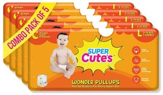 Super Cute's Wonder Pullups Pant Style Premium Diaper For Superior Absorption L 5 Pieces Each (Set of 5)