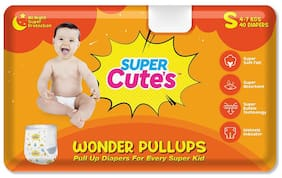 Super Cute's Wonder Pullups Pant Style Premium Diaper For Superior Absorption S 40 Pieces  (Set of 1)