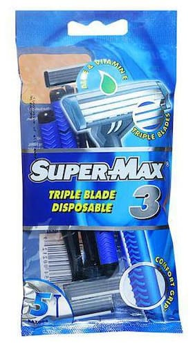 Supermax Triple Blade Disposable Razor With Comfort Grip For Men 5 pc