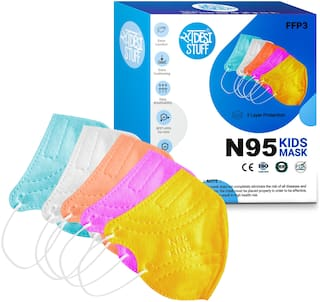 Swadesi Stuff Outdoor Anti Pollution Activate 3 Layer N95 Kids Face Mask for Boys Girls Children Babies (Multicolor, Small Size, Pack of 5)