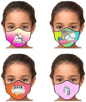 SWASTH BY SWAYAM 2-Layers Printed Cotton Designer Mask Reusable (Pack of 4)